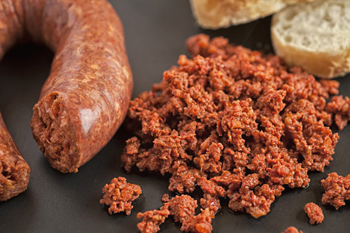Chorizo accompanied with bread