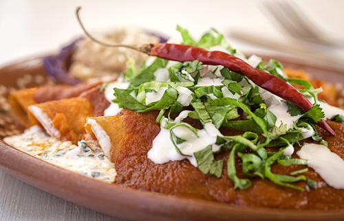 Red Enchiladas with Cottage Cheese