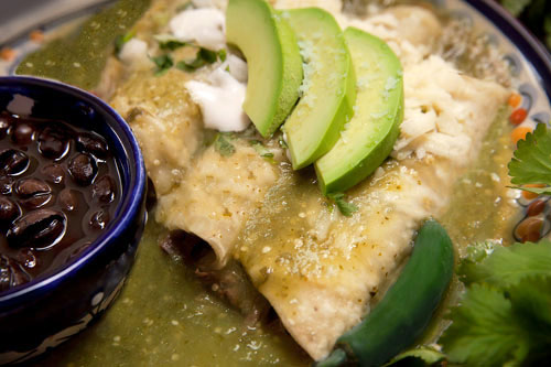 Green Enchiladas with Beef accompanied with pot beans