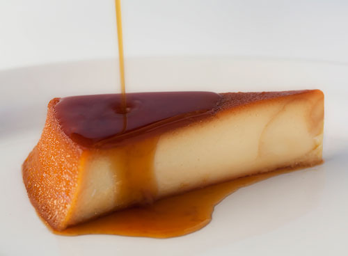 Flan with caramel dripping