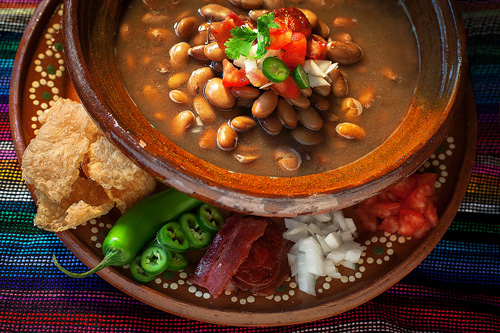 Charro Beans in a clay plate