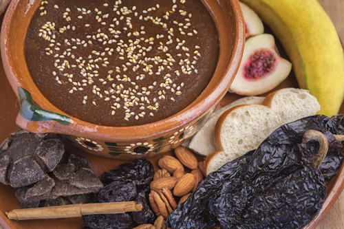 The Mole from Xico presented with many of the ingredients that are used in its preparation