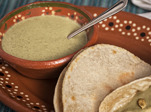 Green Pipian served in some quesadillas
