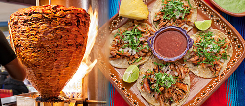 Tacos al Pastor prepared in a taco shop